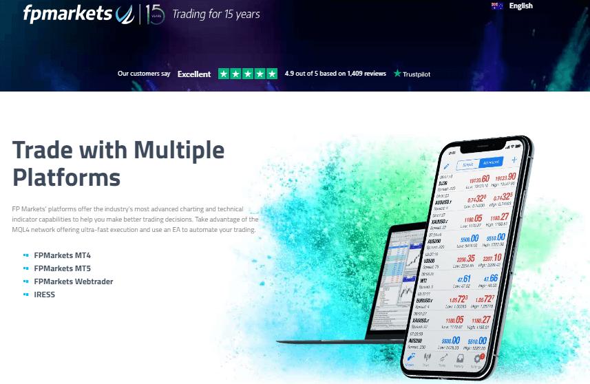 FP Markets Trading platforms