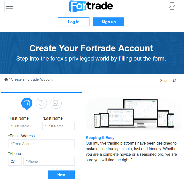 opening fortrade account